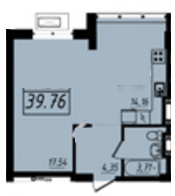Планировки однокомнатных квартир 39.76 м^2